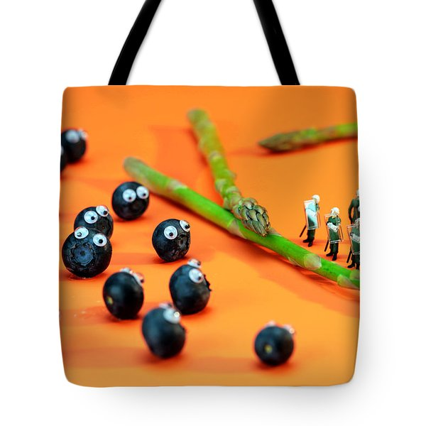 Blueberry Protesting Tote Bag by Paul Ge