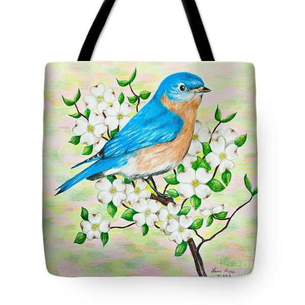 Bluebird And Dogwood Tote Bag