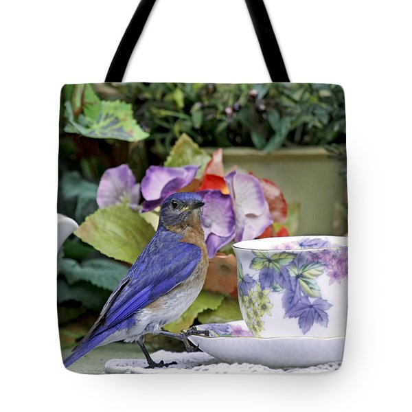 Bluebird And Tea Cups Tote Bag
