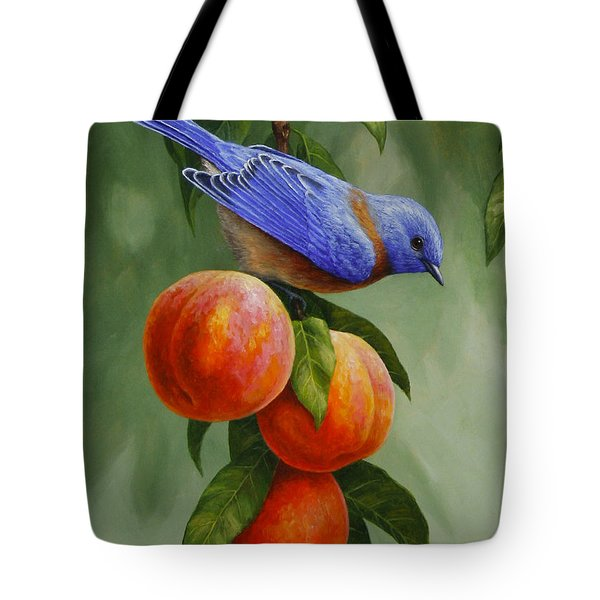 Bluebird And Peaches Greeting Card 1 Tote Bag
