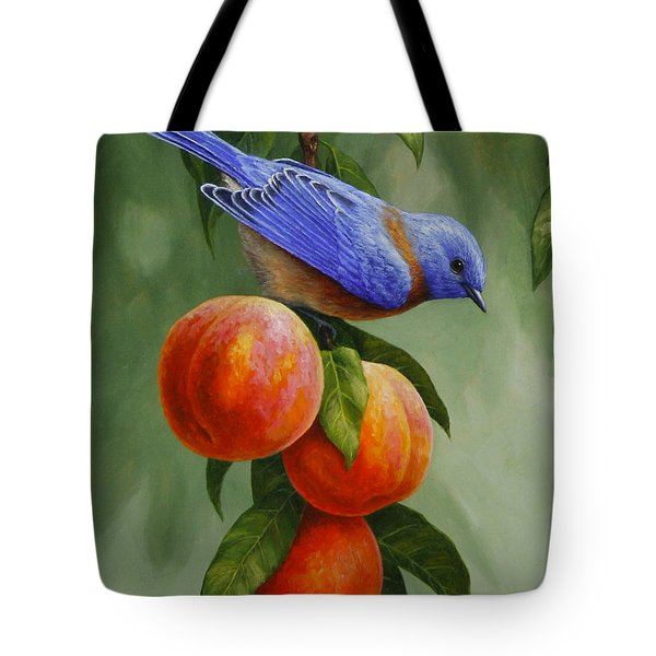 Bluebird And Peaches Greeting Card 1 Tote Bag by Crista Forest