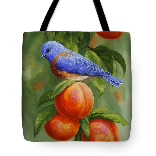 Bluebird And Peaches Greeting Card 2 Tote Bag