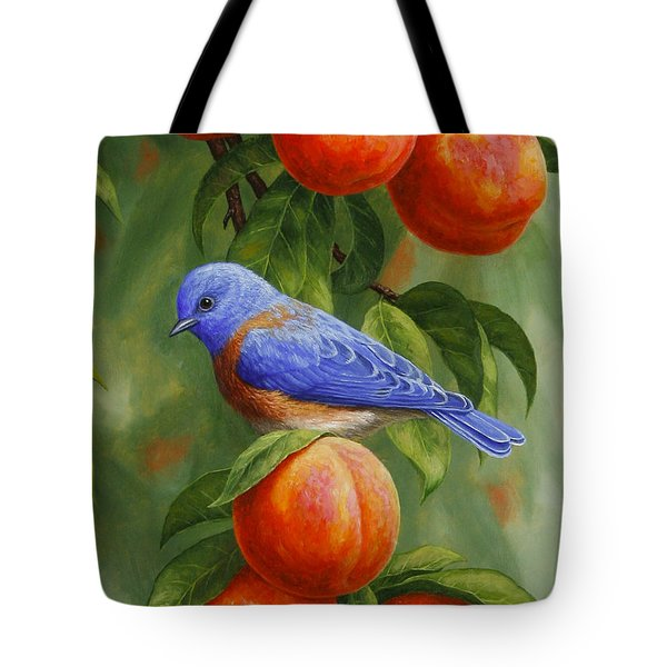 Bluebird And Peaches Greeting Card 2 Tote Bag by Crista Forest