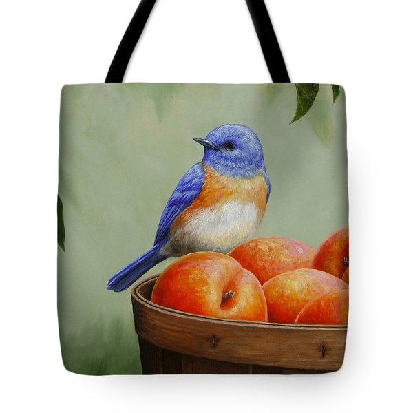 Bluebird And Peaches Greeting Card 3 Tote Bag by Crista Forest