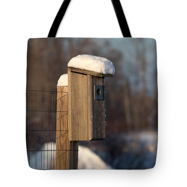 Bluebird House Covered With Snow Tote Bag by Linda Freshwaters Arndt