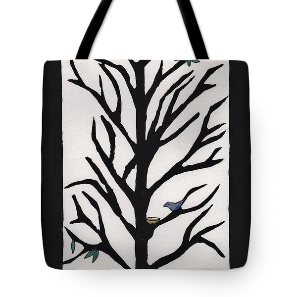 Bluebird In A Pear Tree Tote Bag by Barbara St Jean