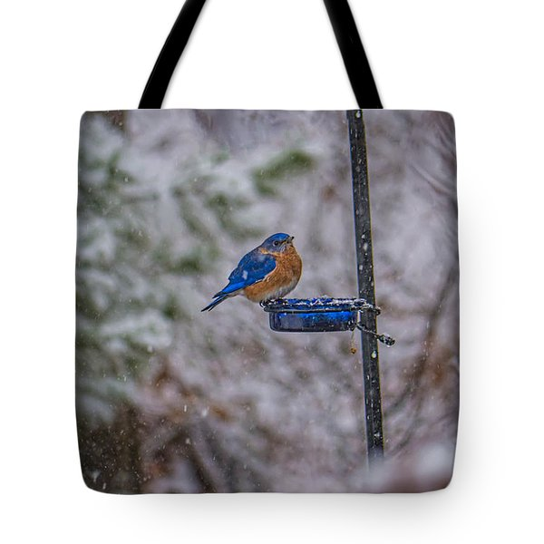 Bluebird In Snow Tote Bag