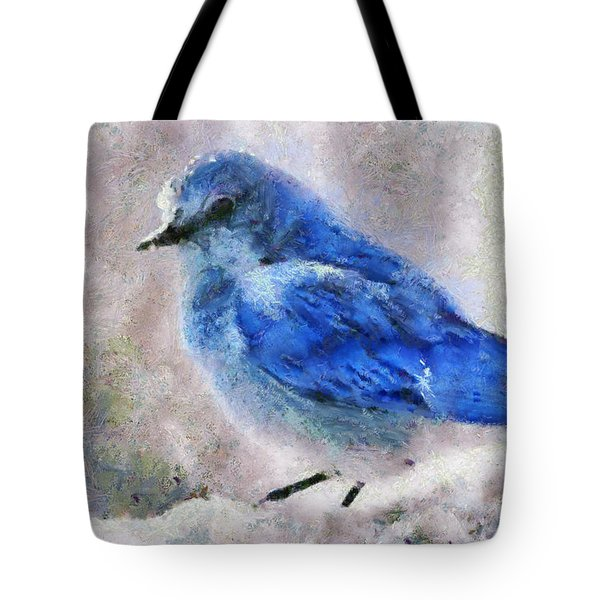 Tote Bag featuring the painting Bluebird In Snow by Elizabeth Coats