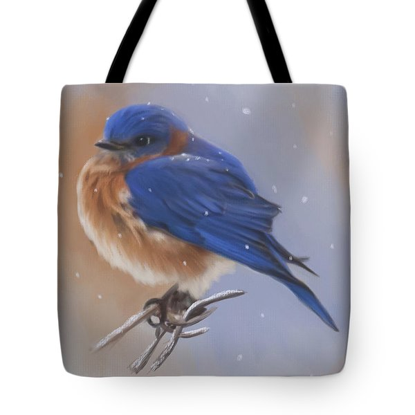 Bluebird In The Snow Tote Bag by Lena Auxier