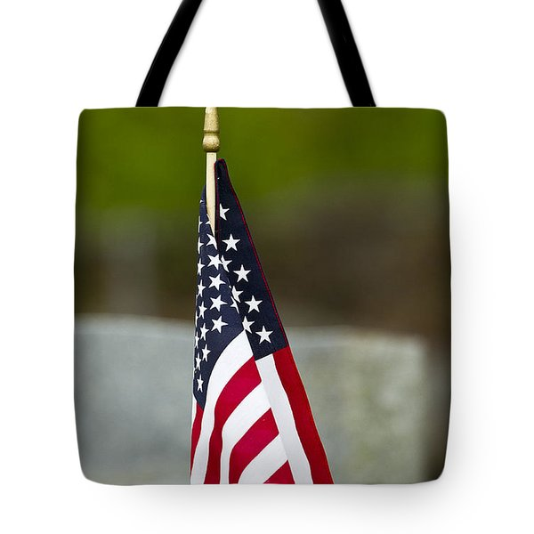 Bluebird Perched On American Flag Tote Bag