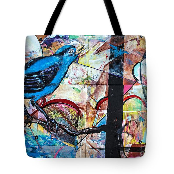 Bluebird Sings With Happiness Tote Bag