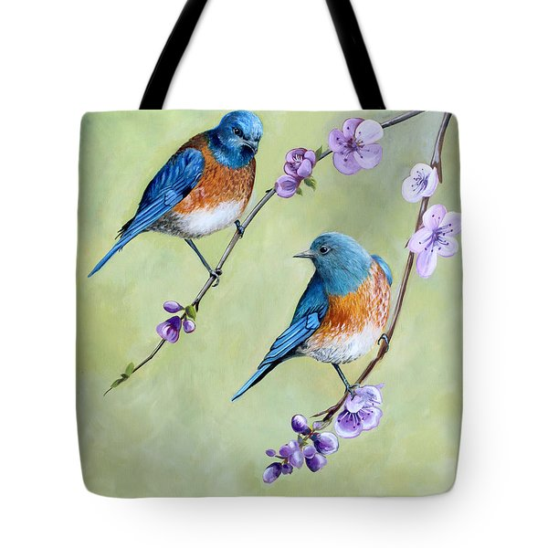 Bluebirds And Blossoms Tote Bag by Debbie Hart