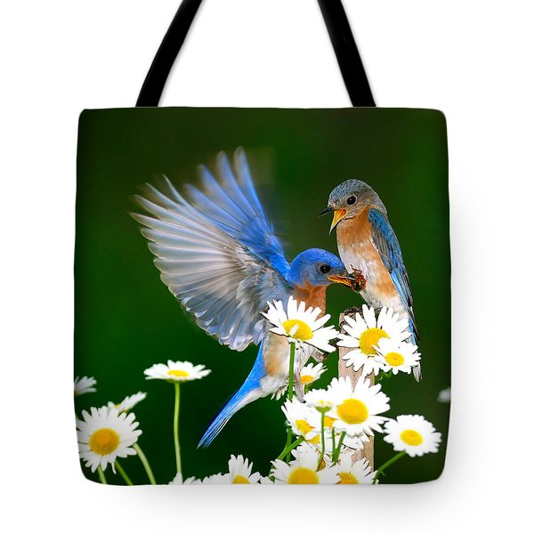 Bluebirds And Daisies Tote Bag
