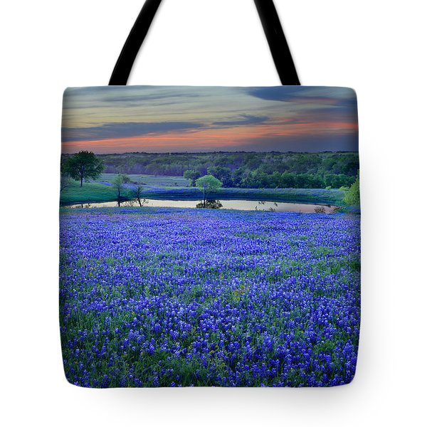 Tote Bag featuring the photograph Bluebonnet Lake Vista Texas Sunset - Wildflowers Landscape Flowers Pond by Jon Holiday