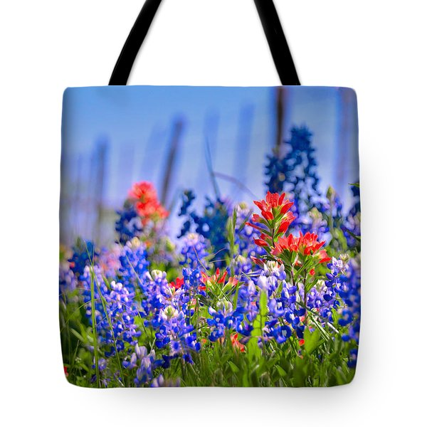 Tote Bag featuring the photograph Bluebonnet Paintbrush Texas  - Wildflowers Landscape Flowers Fence  by Jon Holiday