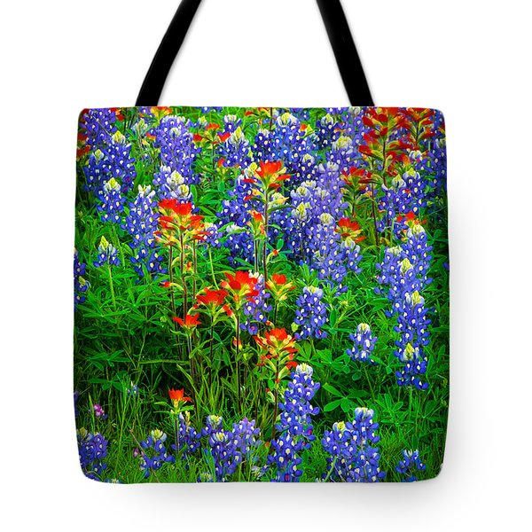 Bluebonnet Patch Tote Bag by Inge Johnsson