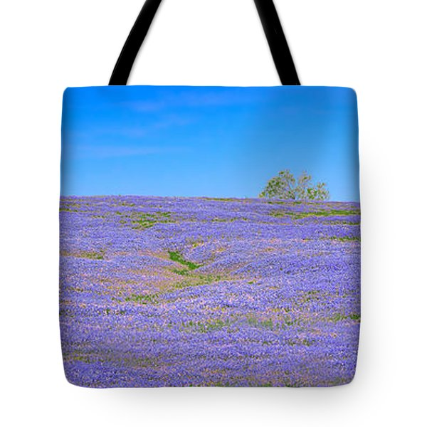 Tote Bag featuring the photograph Bluebonnet Vista Texas  - Wildflowers Landscape Flowers  by Jon Holiday