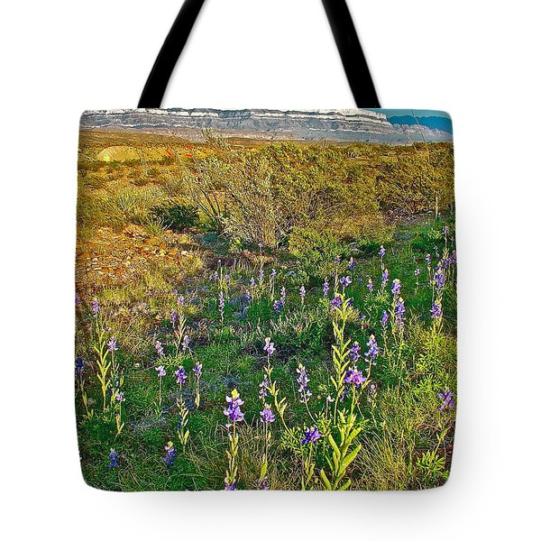 Bluebonnets And Creosote Bushes In Big Bend National Park-texas Tote Bag