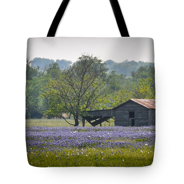 Bluebonnets By The Barn Tote Bag