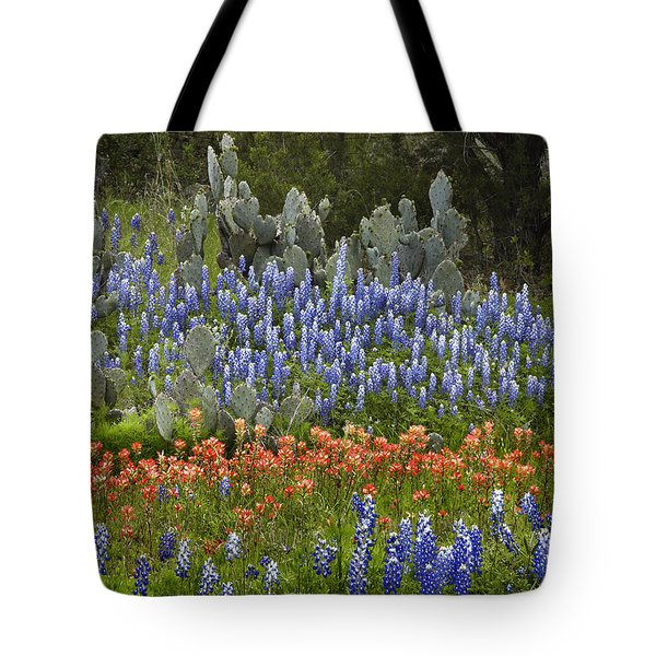 Tote Bag featuring the photograph Bluebonnets Paintbrush And Prickly Pear by Tim Fitzharris
