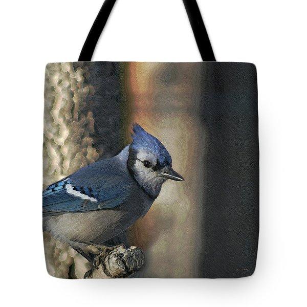 Bluejay Digitally Enhanced Tote Bag by Ernie Echols