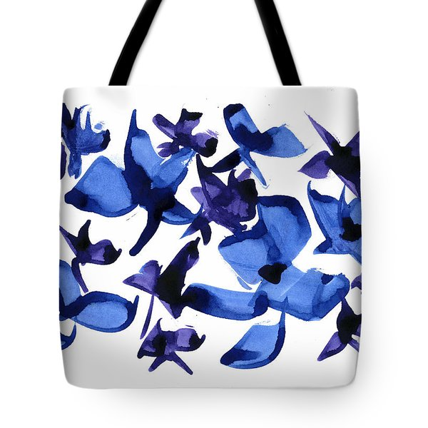 Tote Bag featuring the mixed media Blues And Violets by Frank Bright