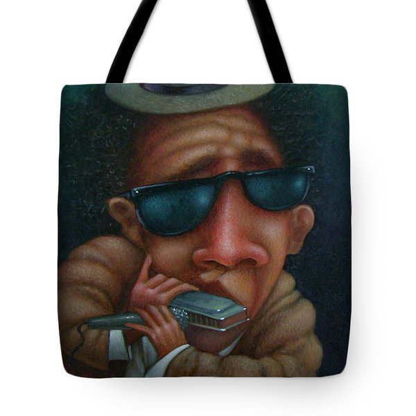 Blues In Hand 2001 Tote Bag by Larry Preston