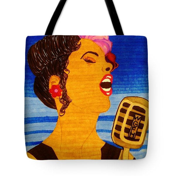 Tote Bag featuring the drawing Blues Singer by Celeste Manning
