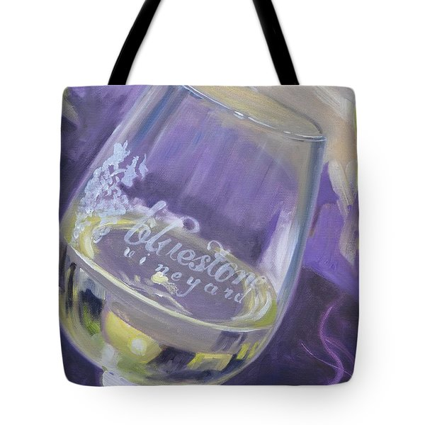 Bluestone Vineyard Wineglass Tote Bag by Donna Tuten