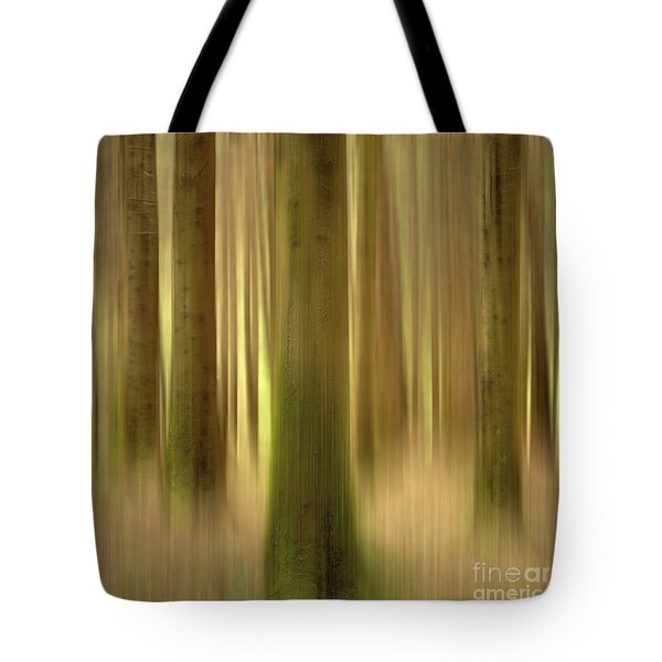Blurred Trunks In A Forest Tote Bag