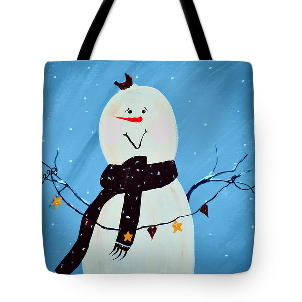 Blushing Snowman Tote Bag by Chastity Hoff