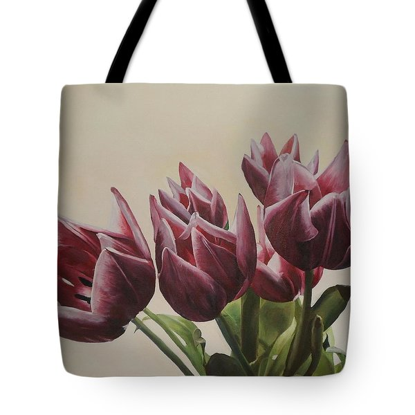 Blushing Tulips Tote Bag by Cherise Foster