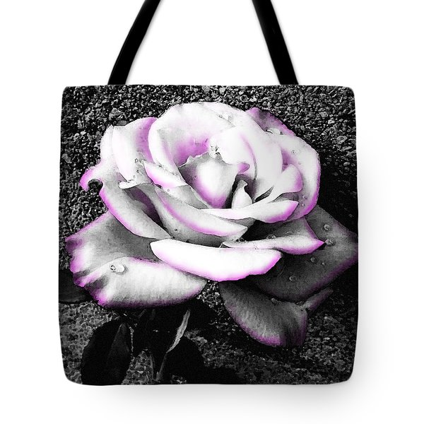 Tote Bag featuring the photograph Blushing White Rose by Shawna Rowe