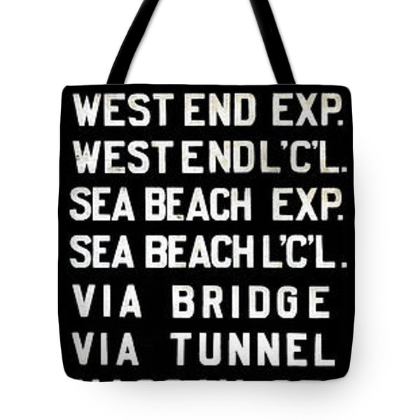 Tote Bag featuring the photograph Bmt Subway Roll Sign by Jim Poulos