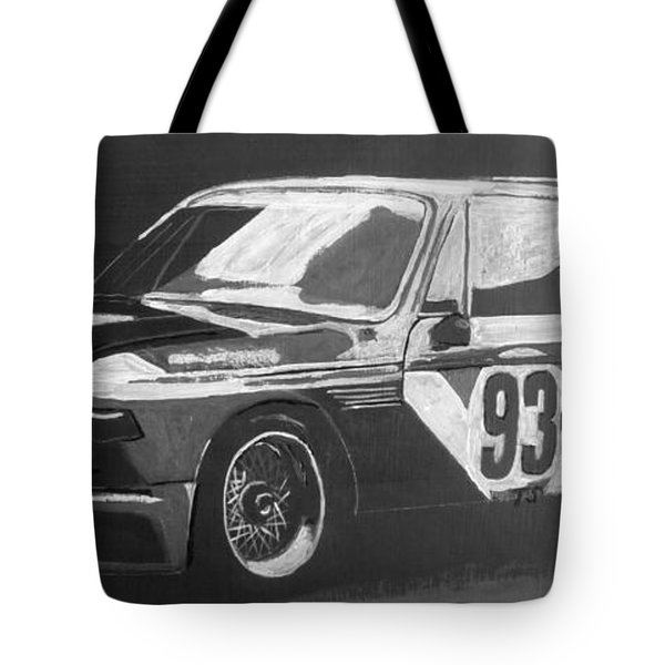 Tote Bag featuring the painting Bmw 3.0 Csl Alexander Calder Art Car by Richard Le Page