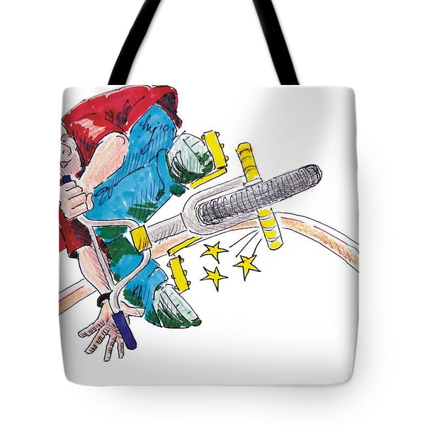 Bmx Drawing Peg Grind Tote Bag by Mike Jory