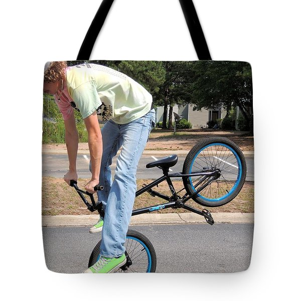 Bmx Rider Tote Bag by Aaron Martens