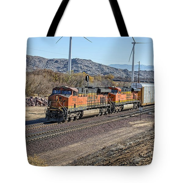 Tote Bag featuring the photograph Bnsf 7454 by Jim Thompson