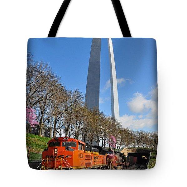 Bnsf Ore Train And St. Louis Gateway Arch Tote Bag