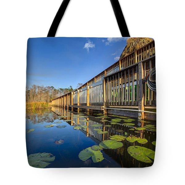 Boardwalk At Grassy Waters Tote Bag by Debra and Dave Vanderlaan