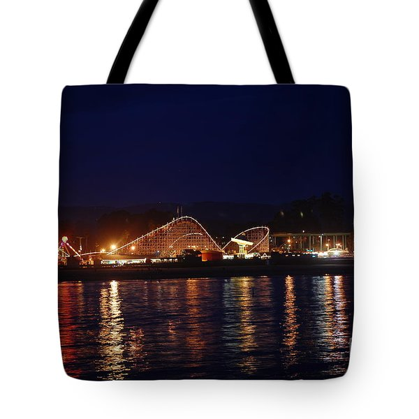 Santa Cruz Boardwalk At Night Tote Bag by Debra Thompson