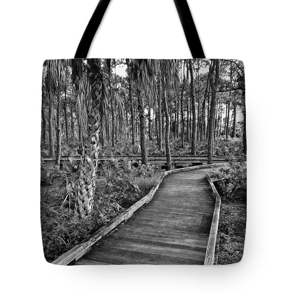 Boardwalk In Black And White 2 Tote Bag by K Simmons Luna