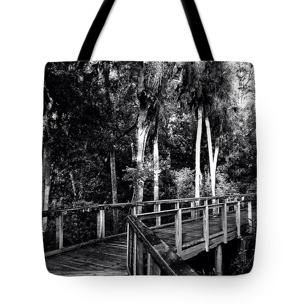 Boardwalk In Black And White Tote Bag