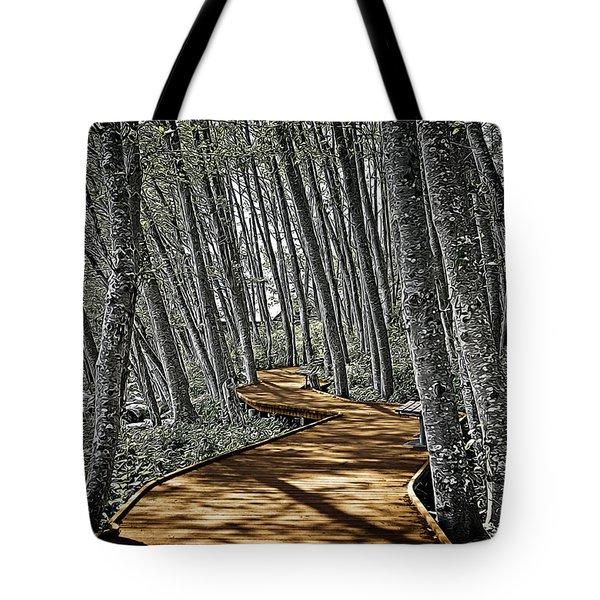 Boardwalk In The Woods Tote Bag