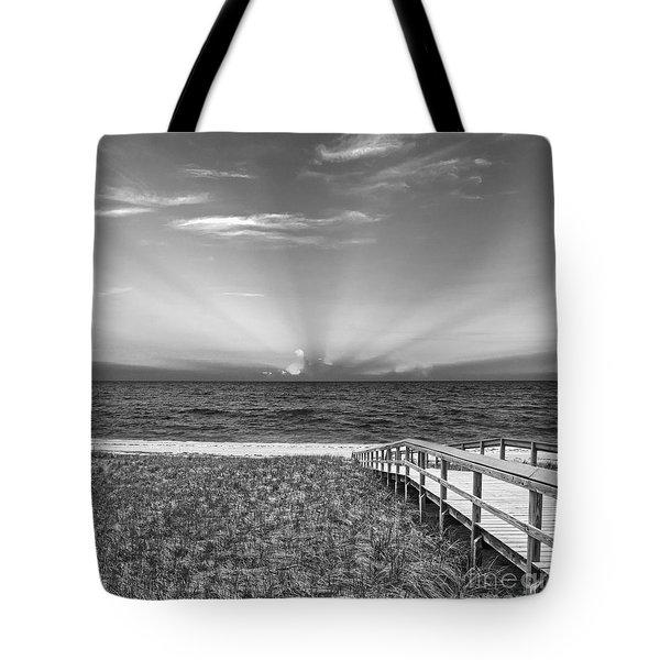 Boardwalk To The Sea Tote Bag by Michelle Wiarda