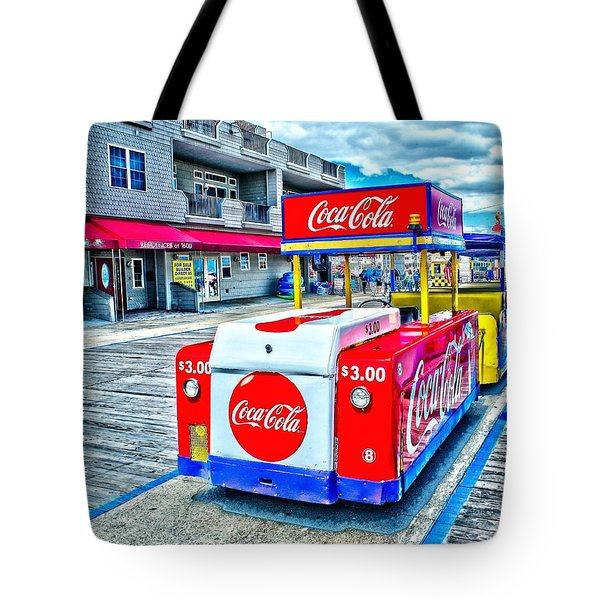Boardwalk Tram  Tote Bag by Nick Zelinsky