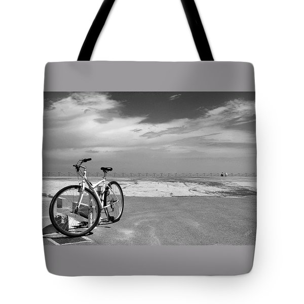 Boardwalk View With Bike In Antibes France Black And White Tote Bag by Ben and Raisa Gertsberg