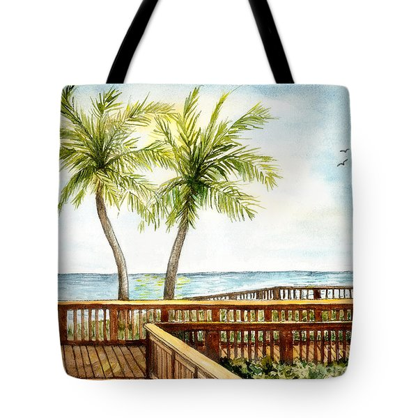 Boardwalk With Two Palms Tote Bag