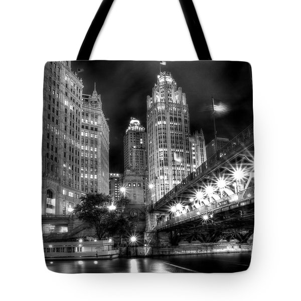 Boat Along The Chicago River Tote Bag