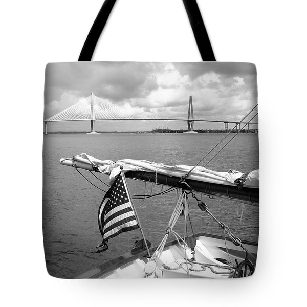 Tote Bag featuring the photograph Boat And Charleston Bridge by Ellen Tully